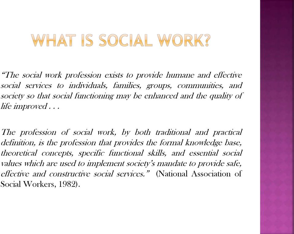 .. The profession of social work, by both traditional and practical definition, is the profession that provides the formal knowledge base,