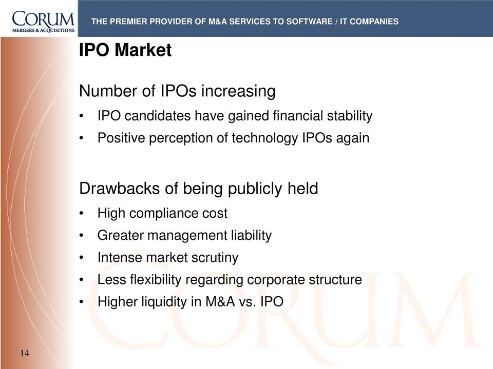 publicly held High compliance cost Greater management liability Intense market