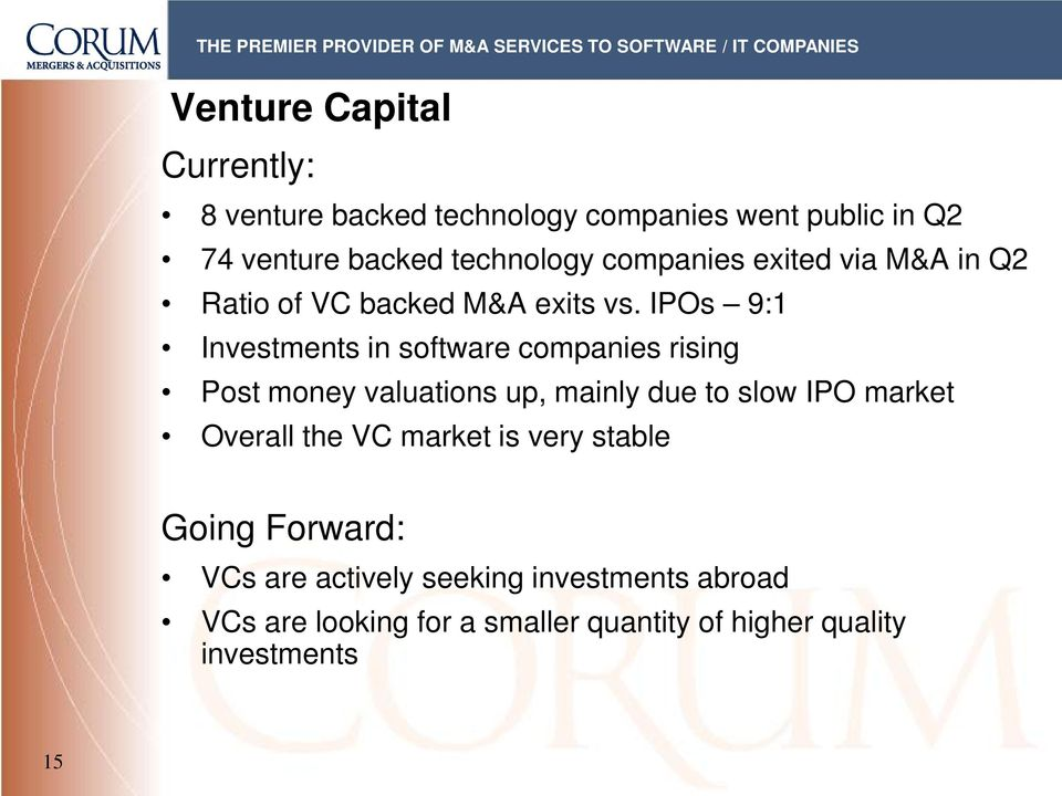 IPOs 9:1 Investments in software companies rising Post money valuations up, mainly due to slow IPO market