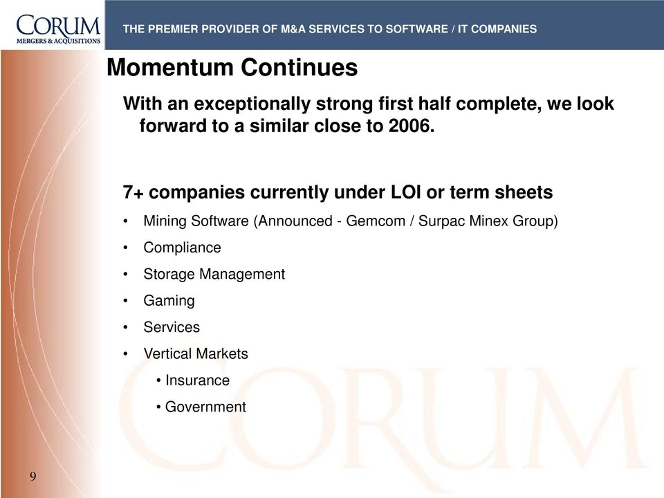 7+ companies currently under LOI or term sheets Mining Software (Announced