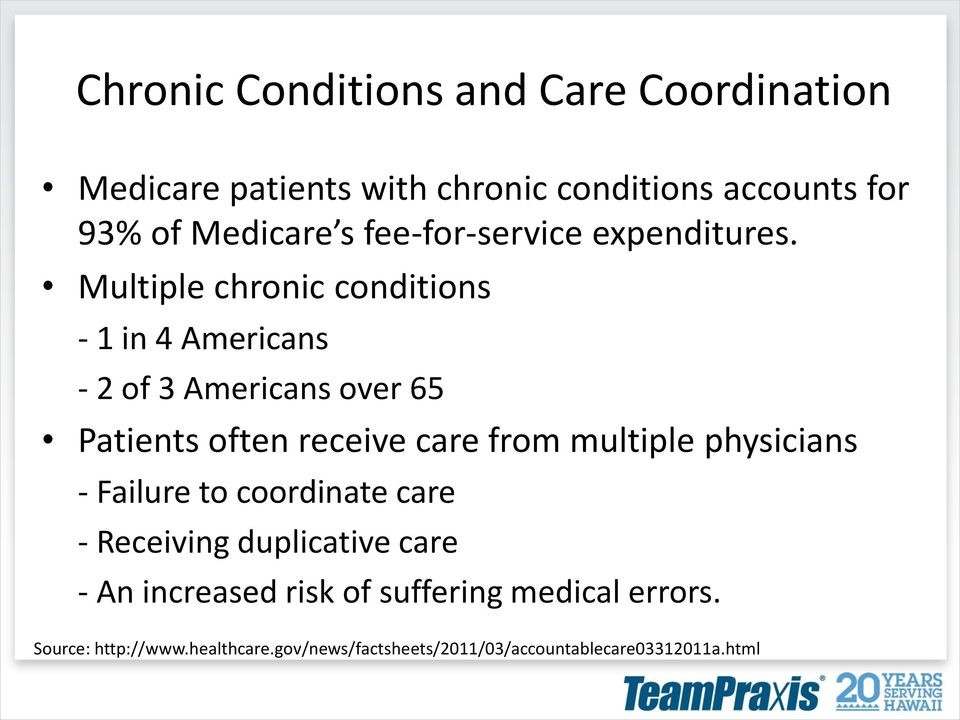 Multiple chronic conditions - 1 in 4 Americans - 2 of 3 Americans over 65 Patients often receive care from multiple