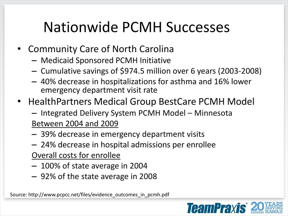 Group BestCare PCMH Model Integrated Delivery System PCMH Model Minnesota Between 2004 and 2009 39% decrease in emergency department visits 24% decrease