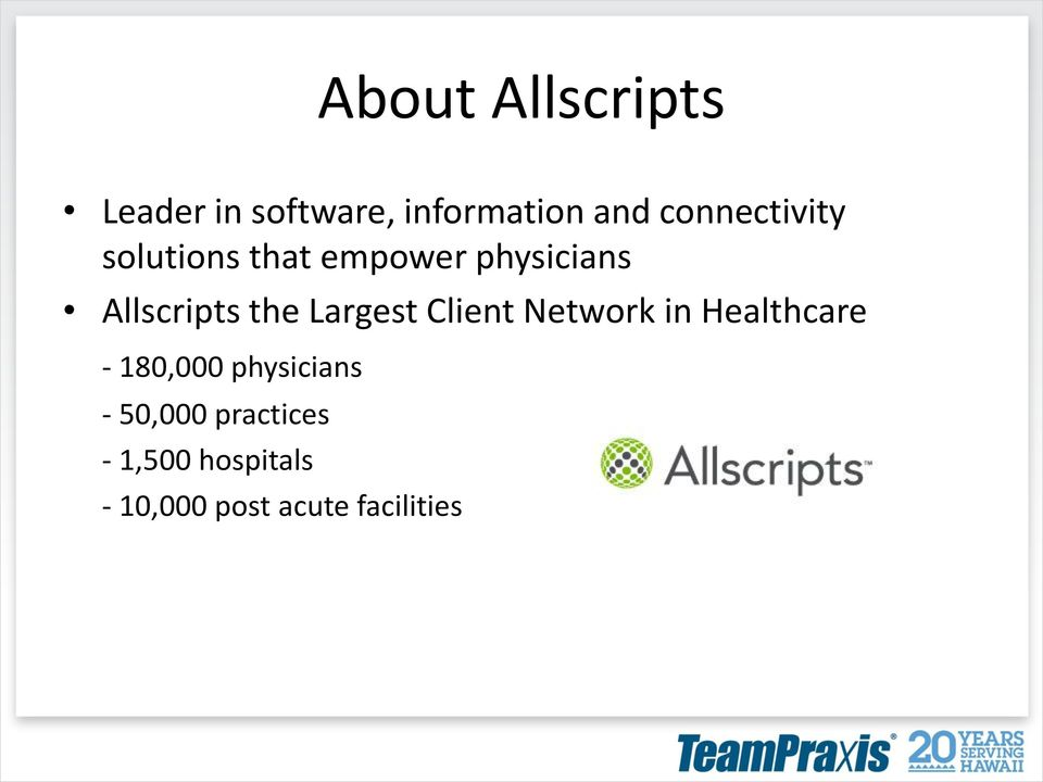 the Largest Client Network in Healthcare - 180,000