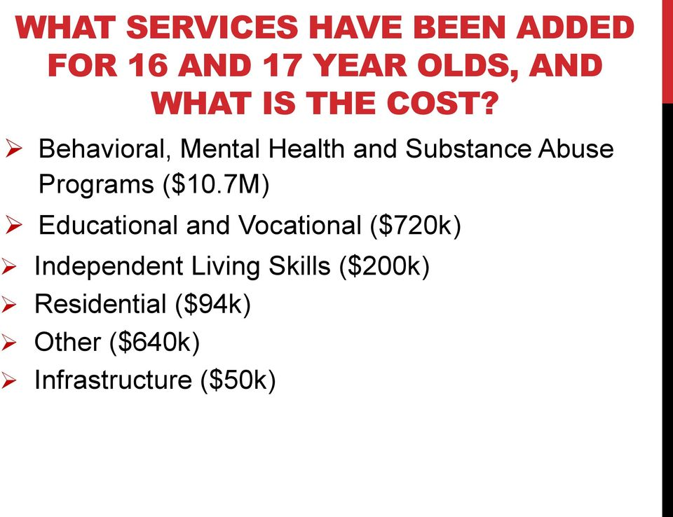 Behavioral, Mental Health and Substance Abuse Programs ($10.
