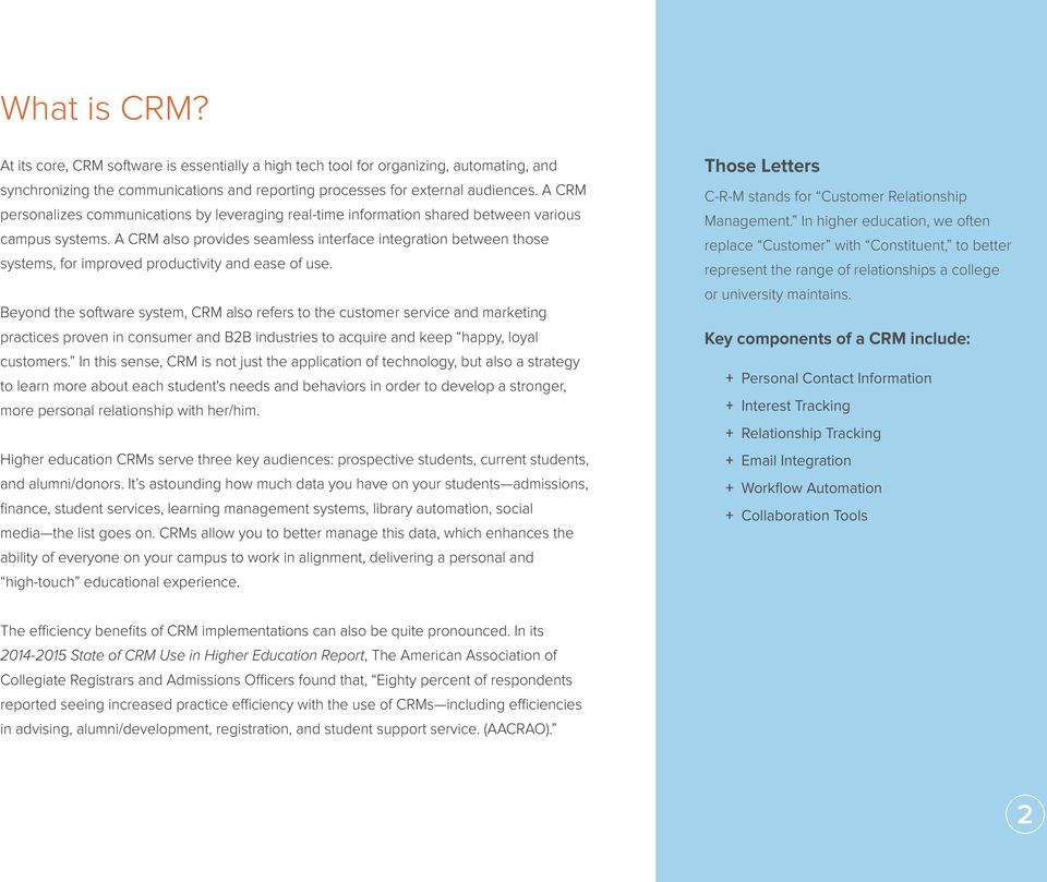 A CRM also provides seamless interface integration between those systems, for improved productivity and ease of use.