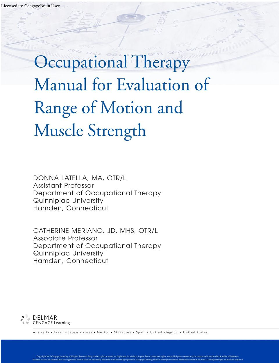 Hamden, Connecticut CATHERINE MERIANO, JD, MHS, OTR/L Associate Professor Department of Occupational Therapy