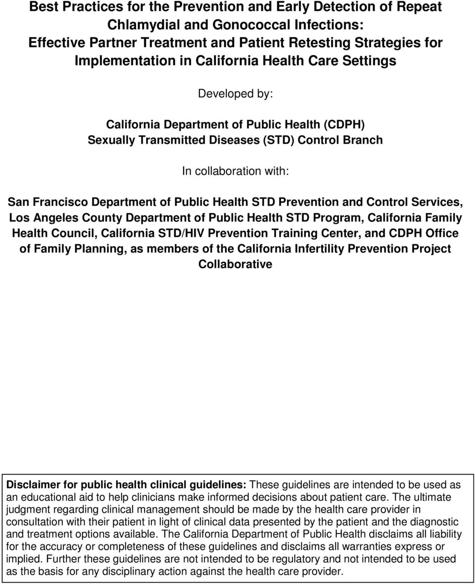 STD Prevention and Control Services, Los Angeles County Department of Public Health STD Program, California Family Health Council, California STD/HIV Prevention Training Center, and CDPH Office of