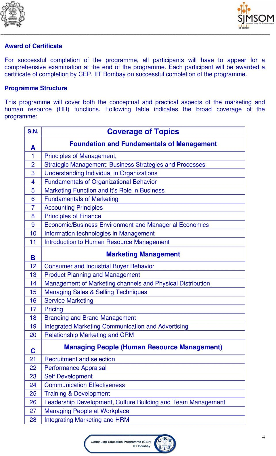 Programme Structure This programme will cover both the conceptual and practical aspects of the marketing and human resource (HR) functions.