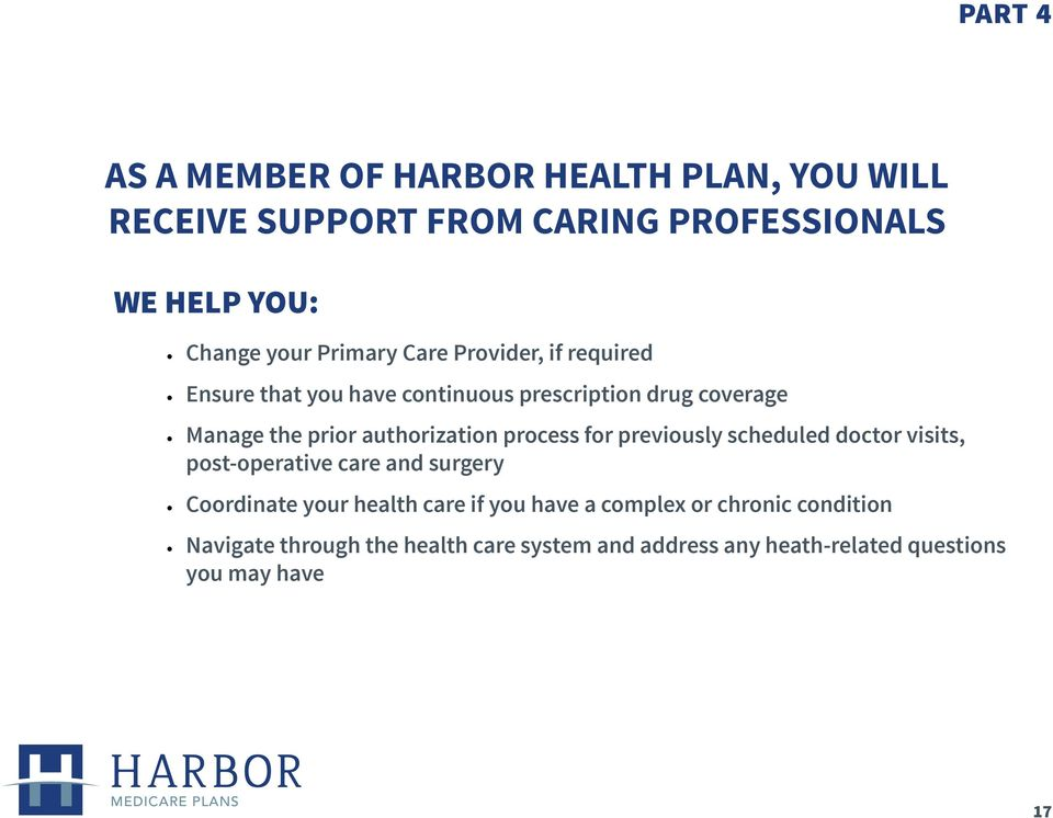 authorization process for previously scheduled doctor visits, post-operative care and surgery Coordinate your health care