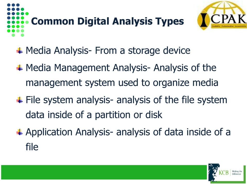 organize media File system analysis- analysis of the file system data