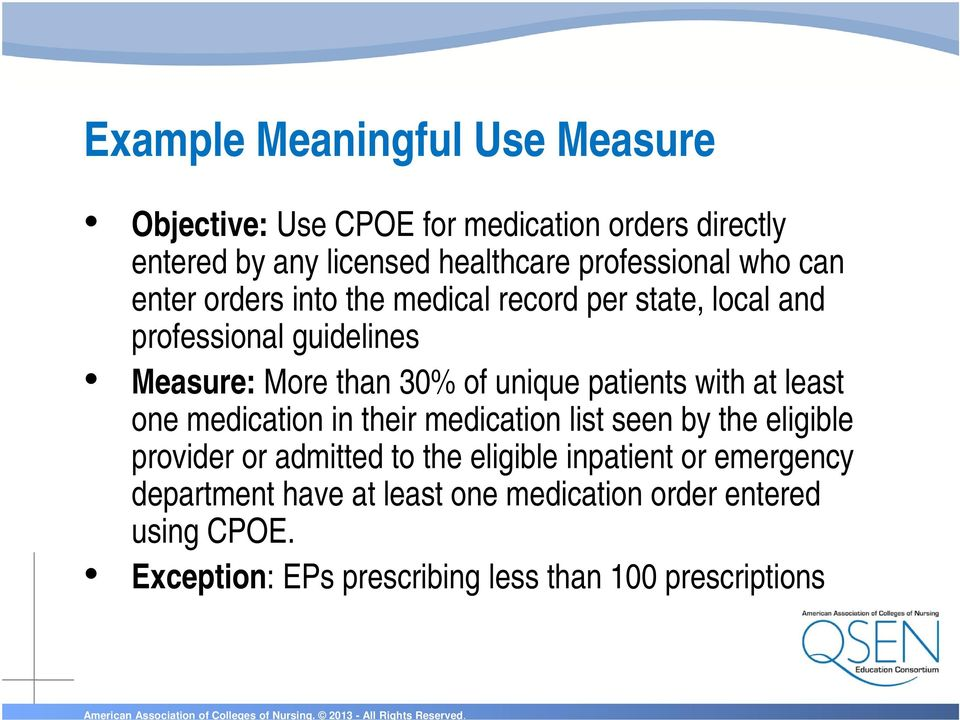 patients with at least one medication in their medication list seen by the eligible provider or admitted to the eligible