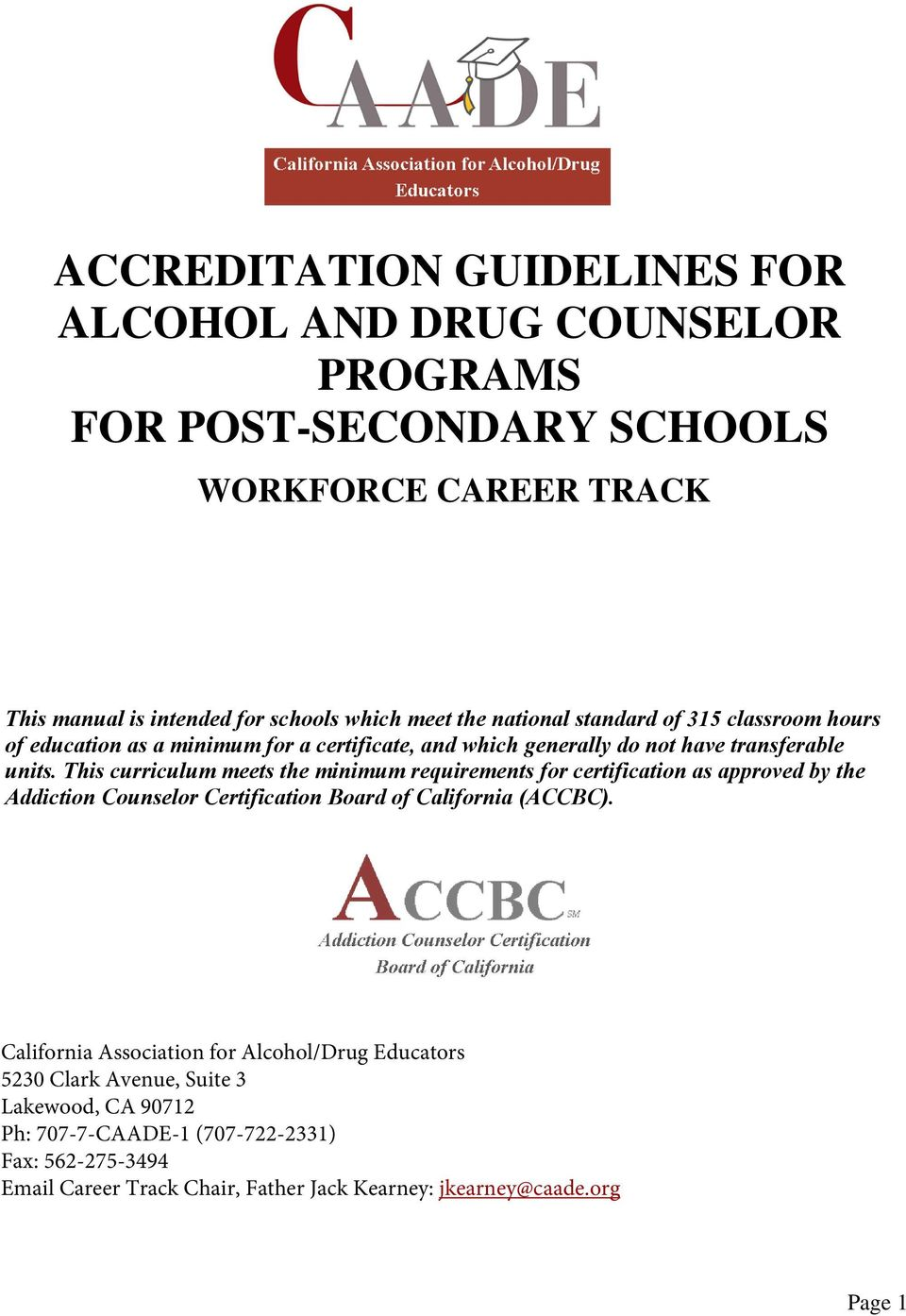 Accreditation Guidelines For Alcohol And Drug Counselor Programs For