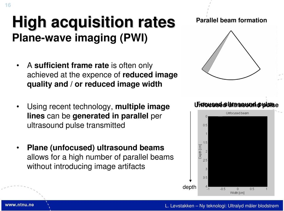 image lines can be generated in parallel per ultrasound pulse transmitted Unfocused Focused ultrasound pulse