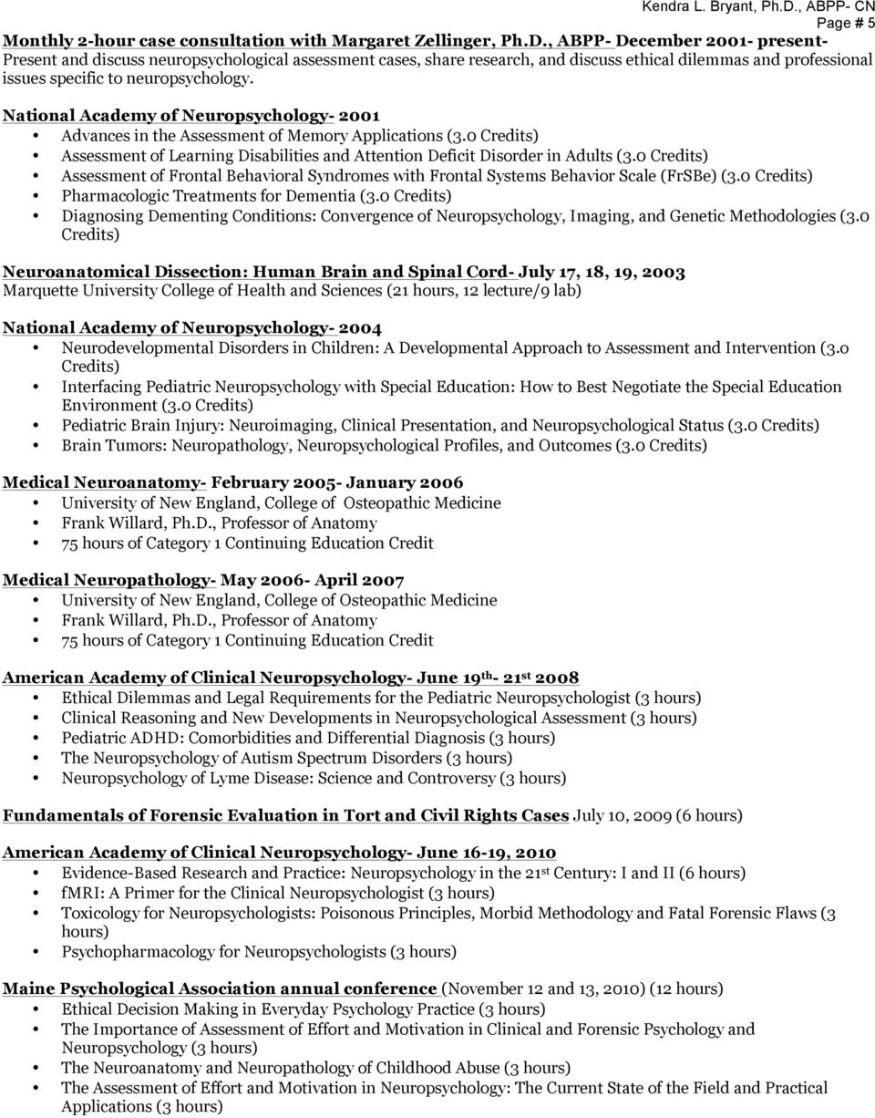 National Academy of Neuropsychology- 2001 Advances in the Assessment of Memory Applications (3.0 Credits) Assessment of Learning Disabilities and Attention Deficit Disorder in Adults (3.