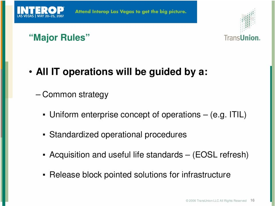 Uniform enterprise concept of operations (e.g.