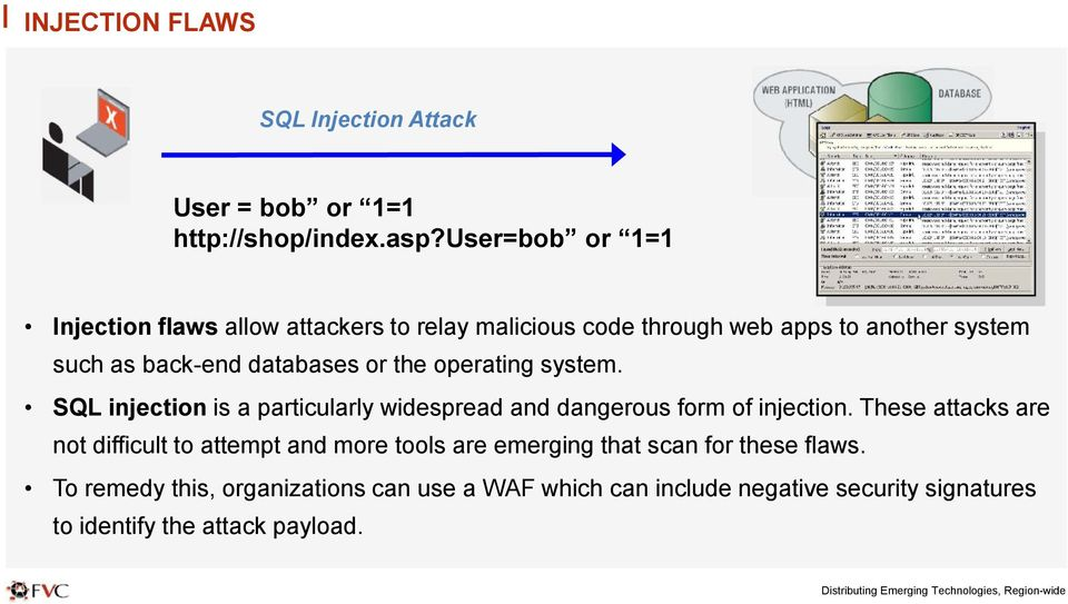 databases or the operating system. SQL injection is a particularly widespread and dangerous form of injection.