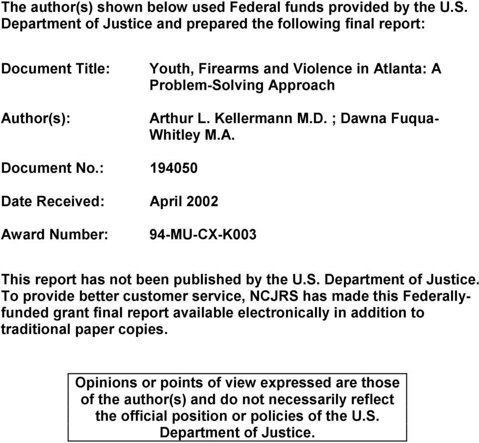A. Document No.: 194050 Date Received: April 2002 Award Number: 94-MU-CX-K003 This report has not been published by the U.S. Department of Justice.