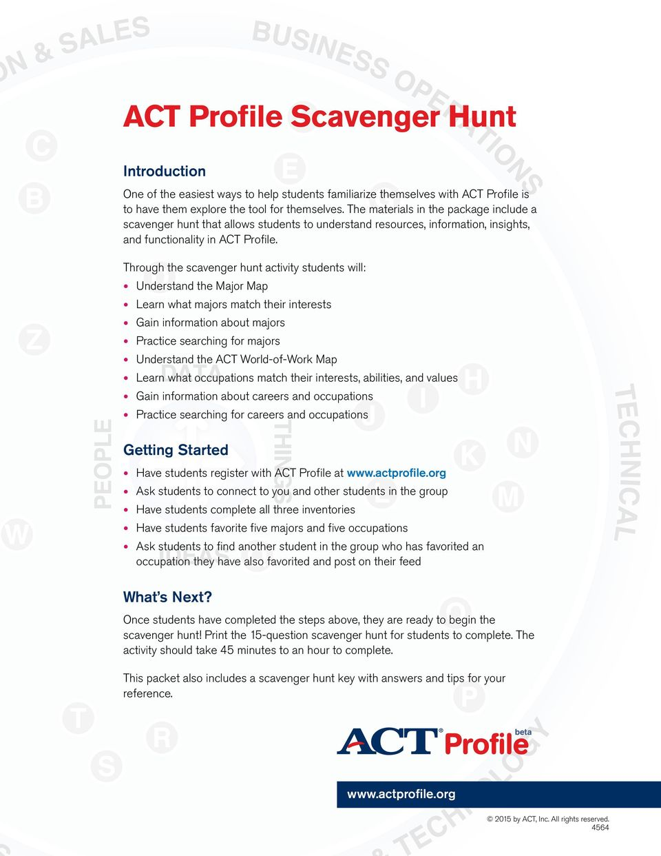 Act profile scavenger hunt pdf through the scavenger hunt activity students will understand the major map learn what majors match gumiabroncs Gallery