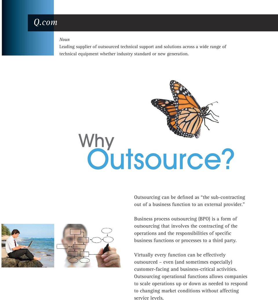Business process outsourcing (BPO) is a form of outsourcing that involves the contracting of the operations and the responsibilities of specific business functions or processes to a third party.