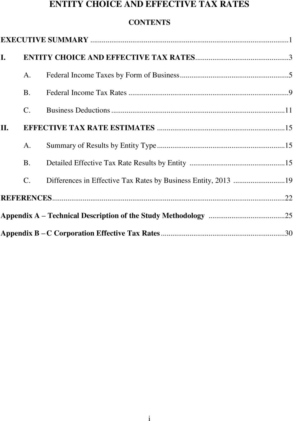 ..15 A. Summary of Results by Entity Type...15 B. Detailed Effective Tax Rate Results by Entity...15 C.