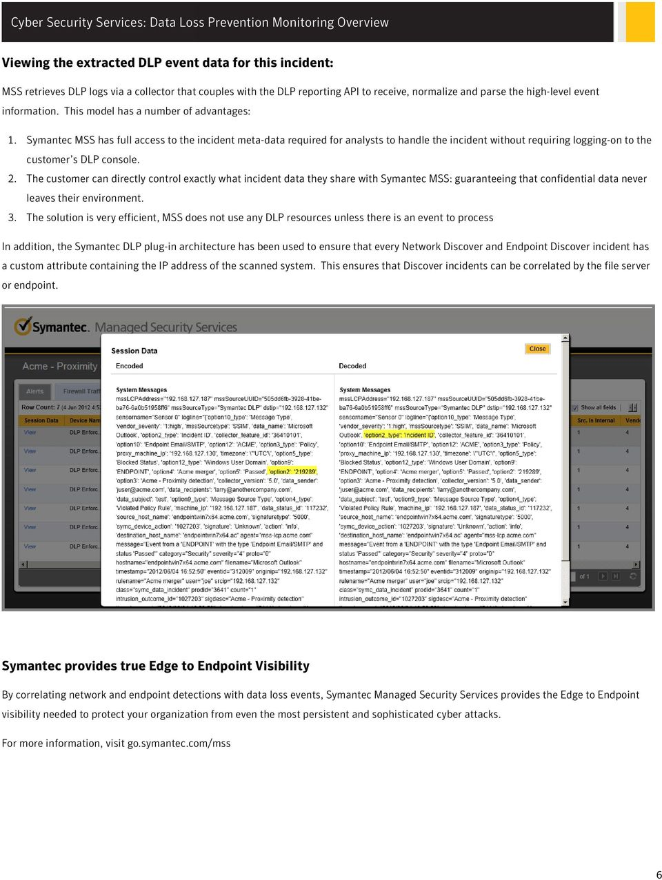 Symantec MSS has full access to the incident meta-data required for analysts to handle the incident without requiring logging-on to the customer s DLP console. 2.