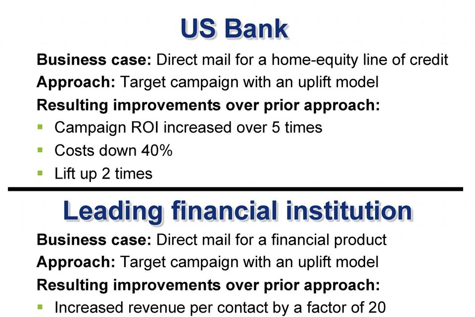 times Leading financial institution Business case: Direct mail for a financial product Approach: Target