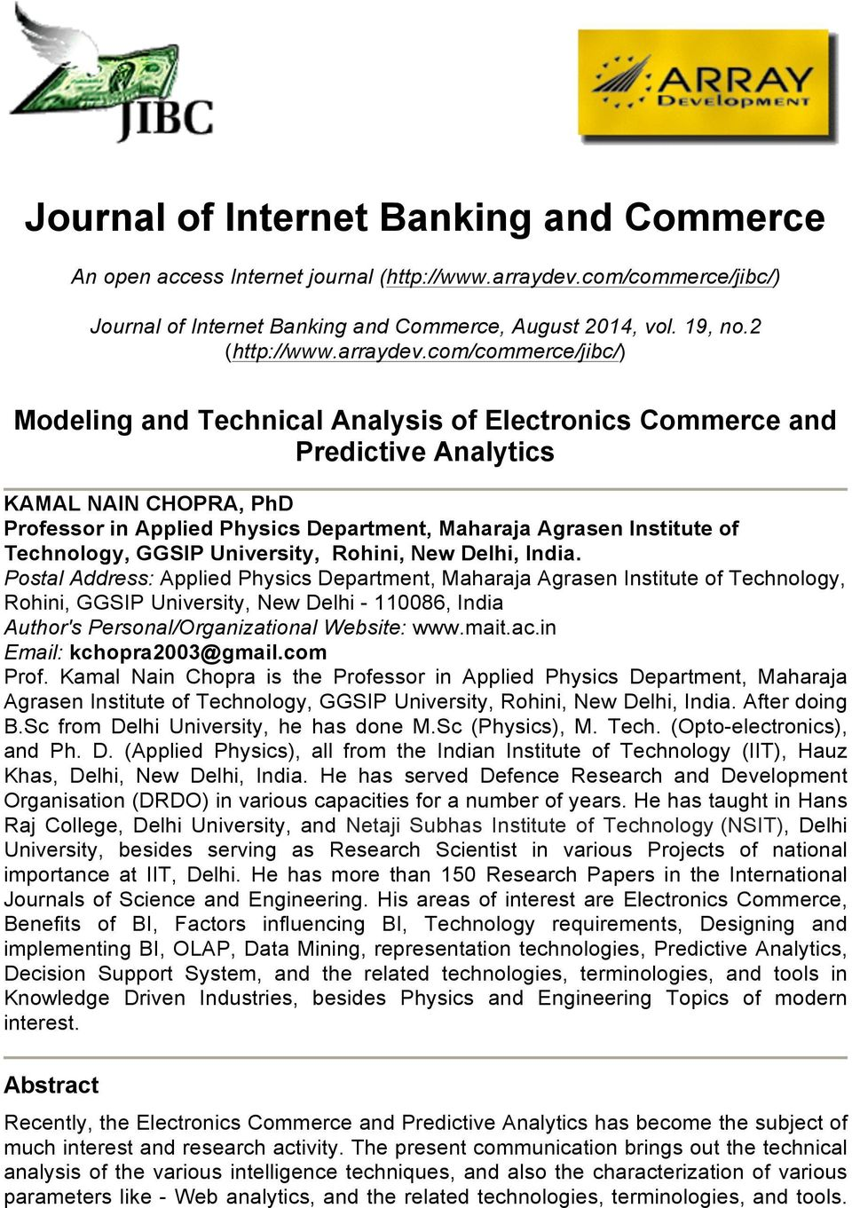 com/commerce/jibc/) Modeling and Technical Analysis of Electronics Commerce and Predictive Analytics KAMAL NAIN CHOPRA, PhD Professor in Applied Physics Department, Maharaja Agrasen Institute of