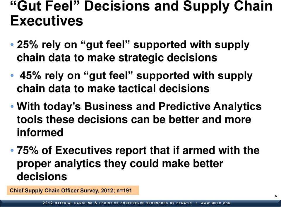 Business and Predictive Analytics tools these decisions can be better and more informed 75% of Executives report