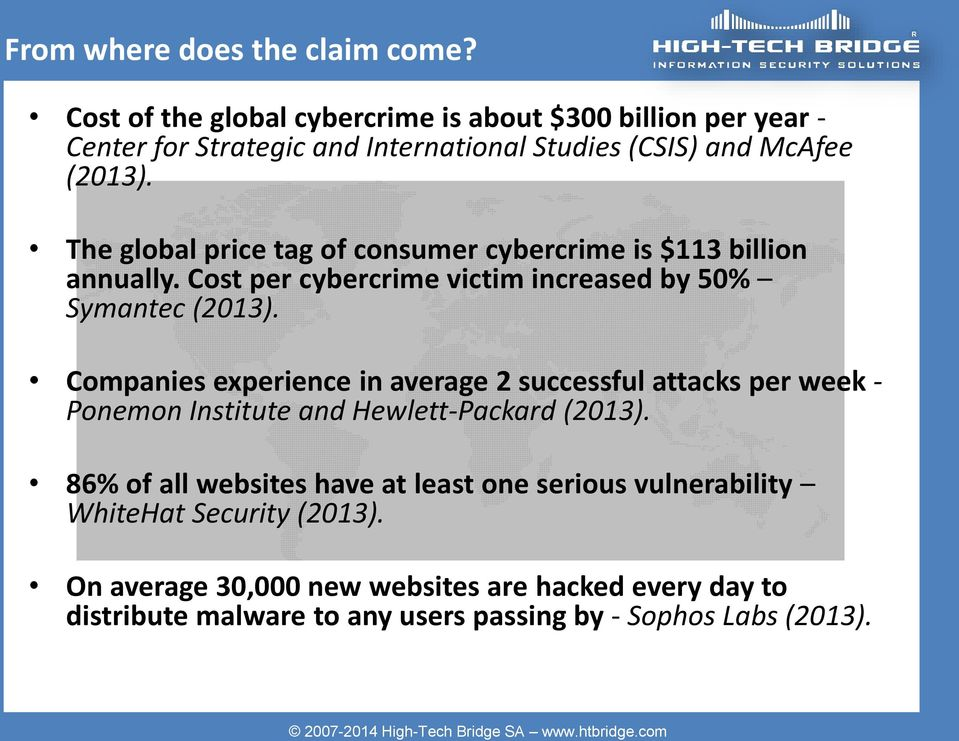 Cost per cybercrime victim increased by 50% Symantec (2013).