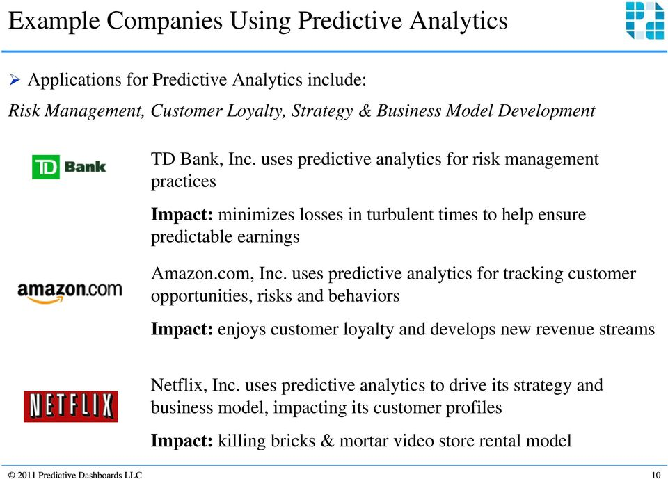 uses predictive analytics for tracking customer opportunities, risks and behaviors Impact: enjoys customer loyalty and develops new revenue streams Netflix, Inc.