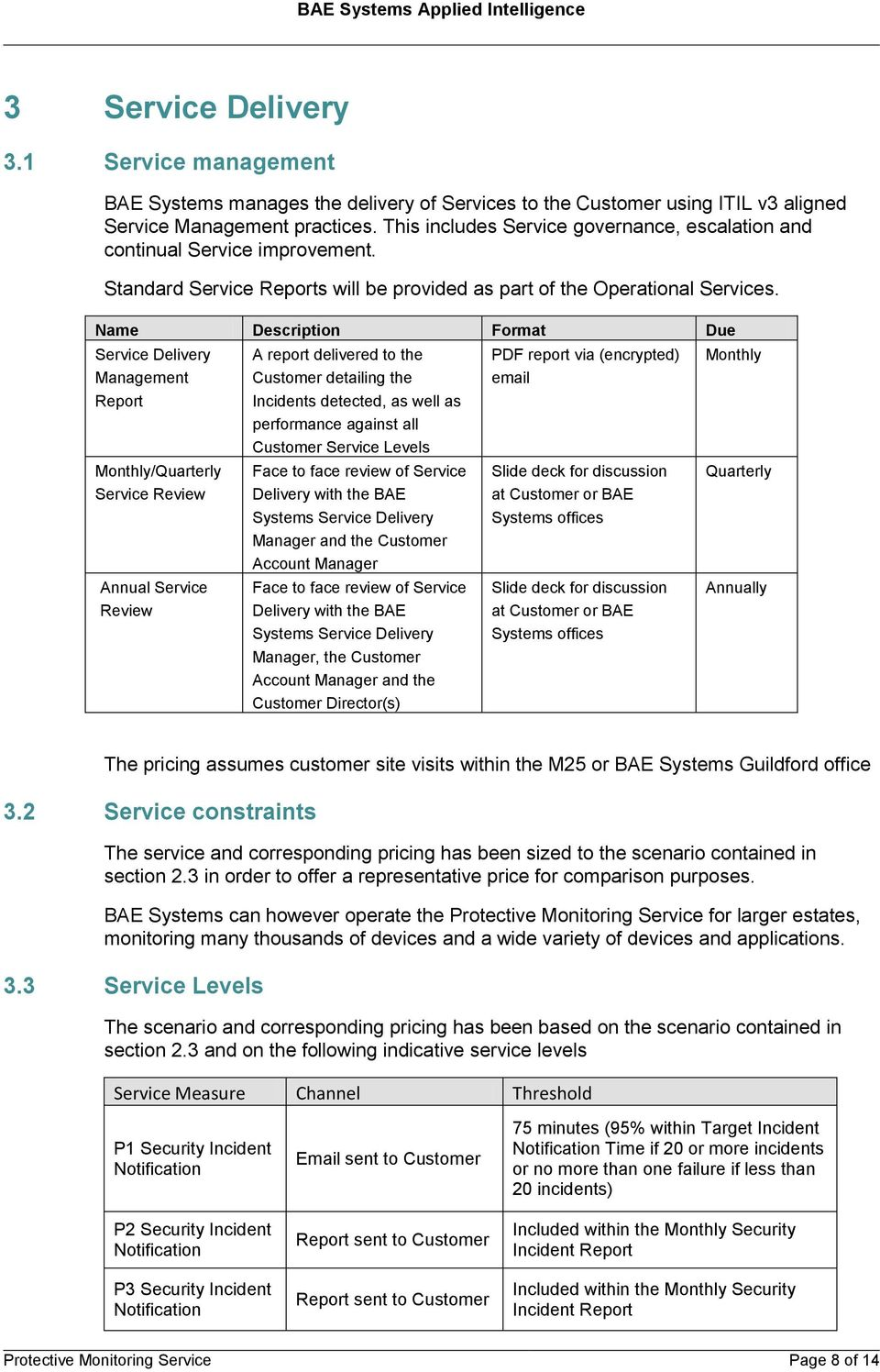 Name Description Format Due Service Delivery Management Report Monthly/Quarterly Service Review Annual Service Review A report delivered to the Customer detailing the Incidents detected, as well as