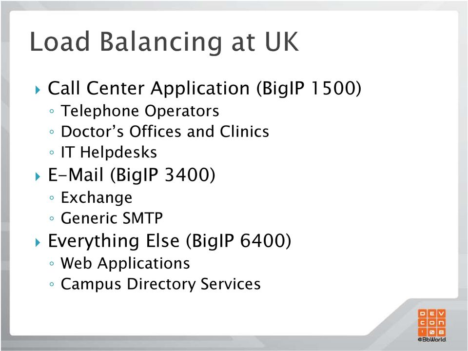 E-Mail (BigIP 3400) Exchange Generic SMTP Everything