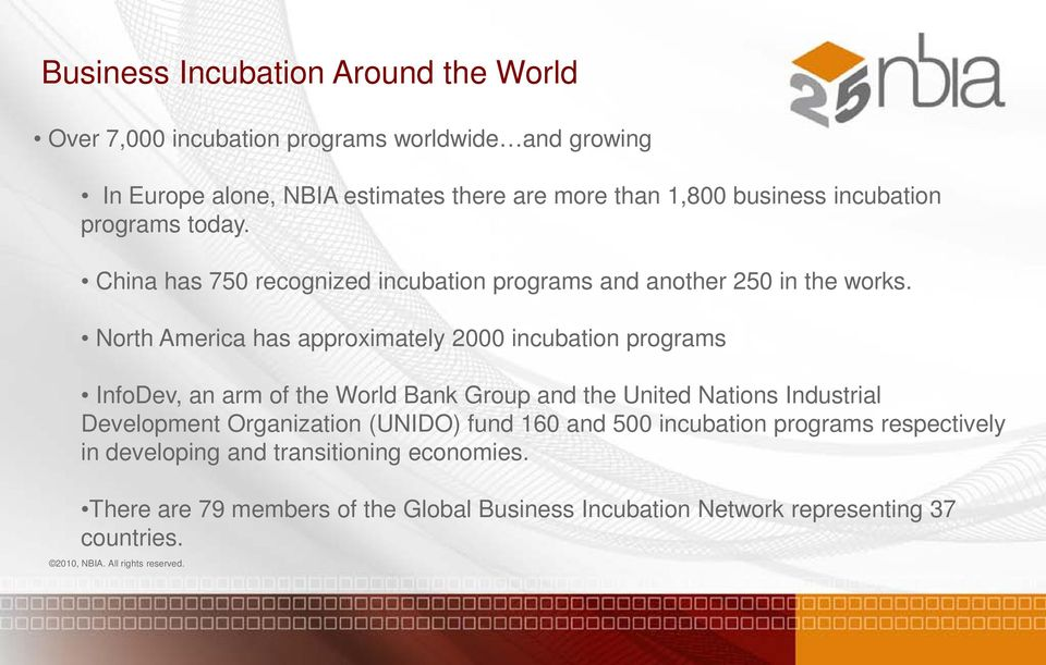 North America has approximately 2000 incubation programs InfoDev, an arm of the World Bank Group and the United Nations Industrial Development