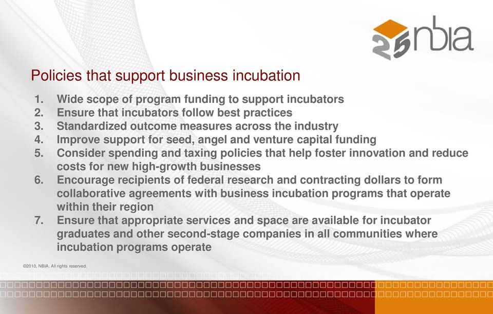 Consider spending and taxing policies that help foster innovation and reduce costs for new high-growth businesses 6.