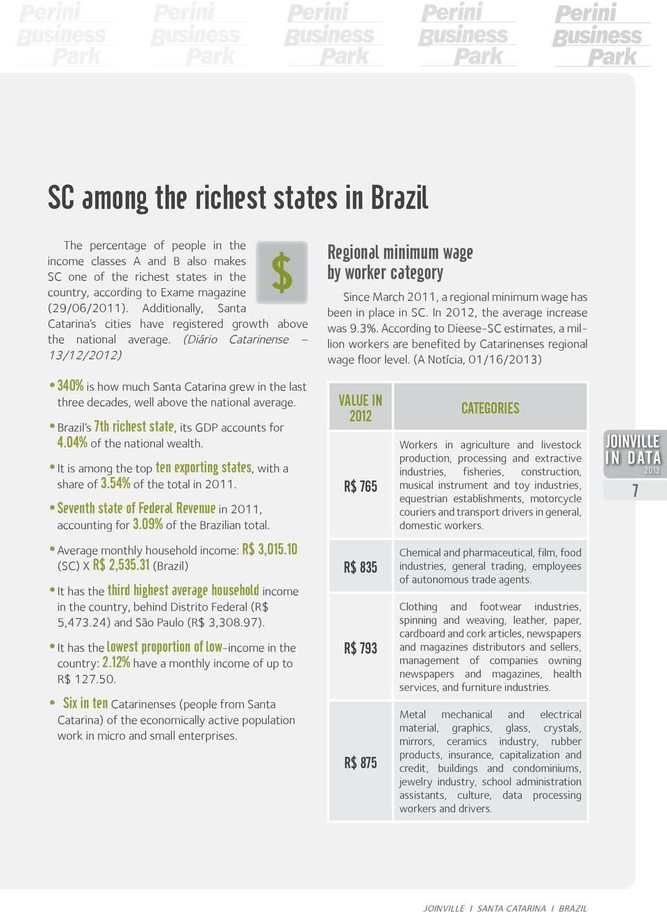 (Diário Catarinense 13/12/2012) Regional minimum wage by worker category Since March 2011, a regional minimum wage has been in place in SC. In 2012, the average increase was 9.3%.