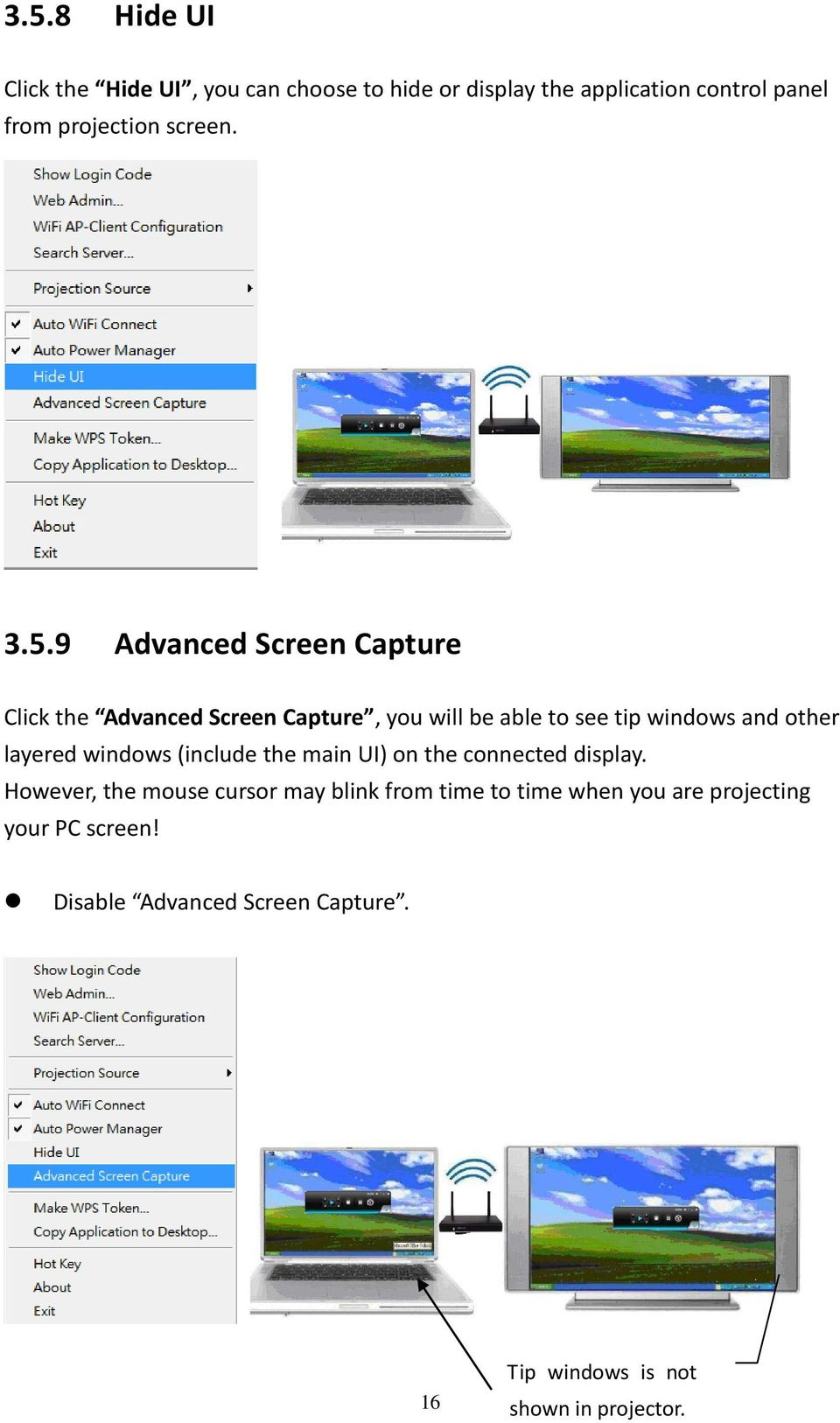 9 Advanced Screen Capture Click the Advanced Screen Capture, you will be able to see tip windows and other layered