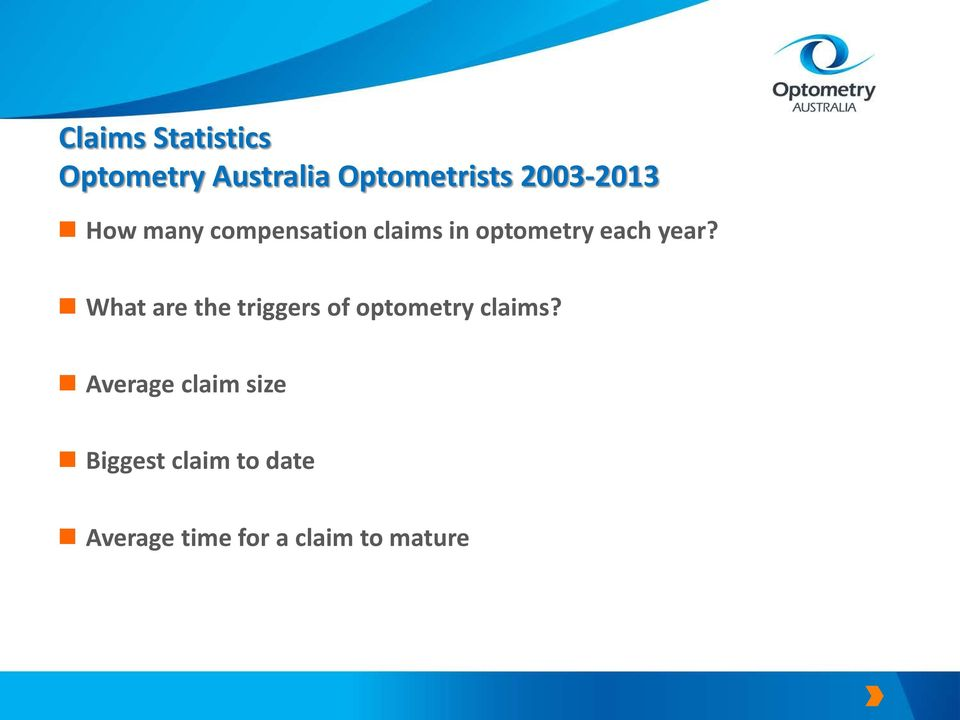 year? What are the triggers of optometry claims?