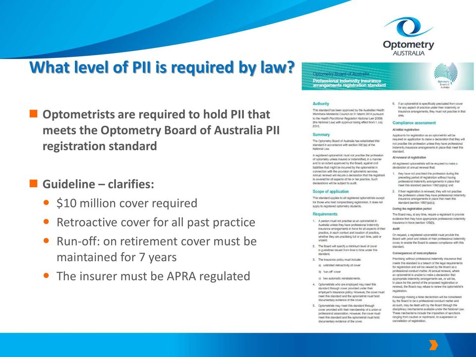 PII registration standard Guideline clarifies: $10 million cover required