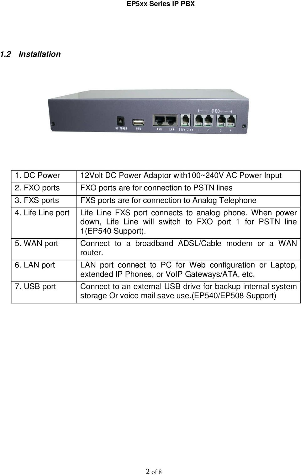 When power down, Life Line will switch to FXO port 1 for PSTN line 1(EP540 Support). 5. WAN port Connect to a broadband ADSL/Cable modem or a WAN router. 6.