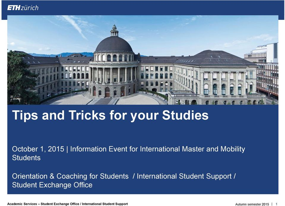 Tips and tricks for your studies pdf - International student services office ...