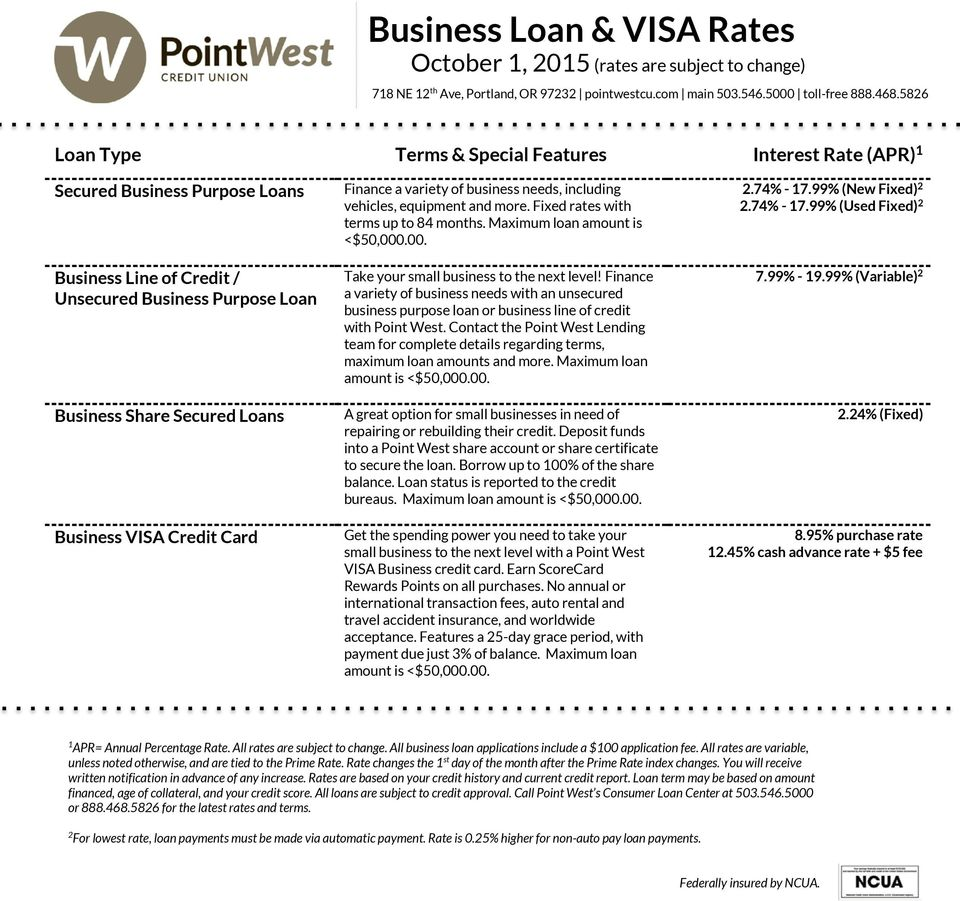 .00. Take your small business to the next level! Finance a variety of business needs with an unsecured business purpose loan or business line of credit with Point West.