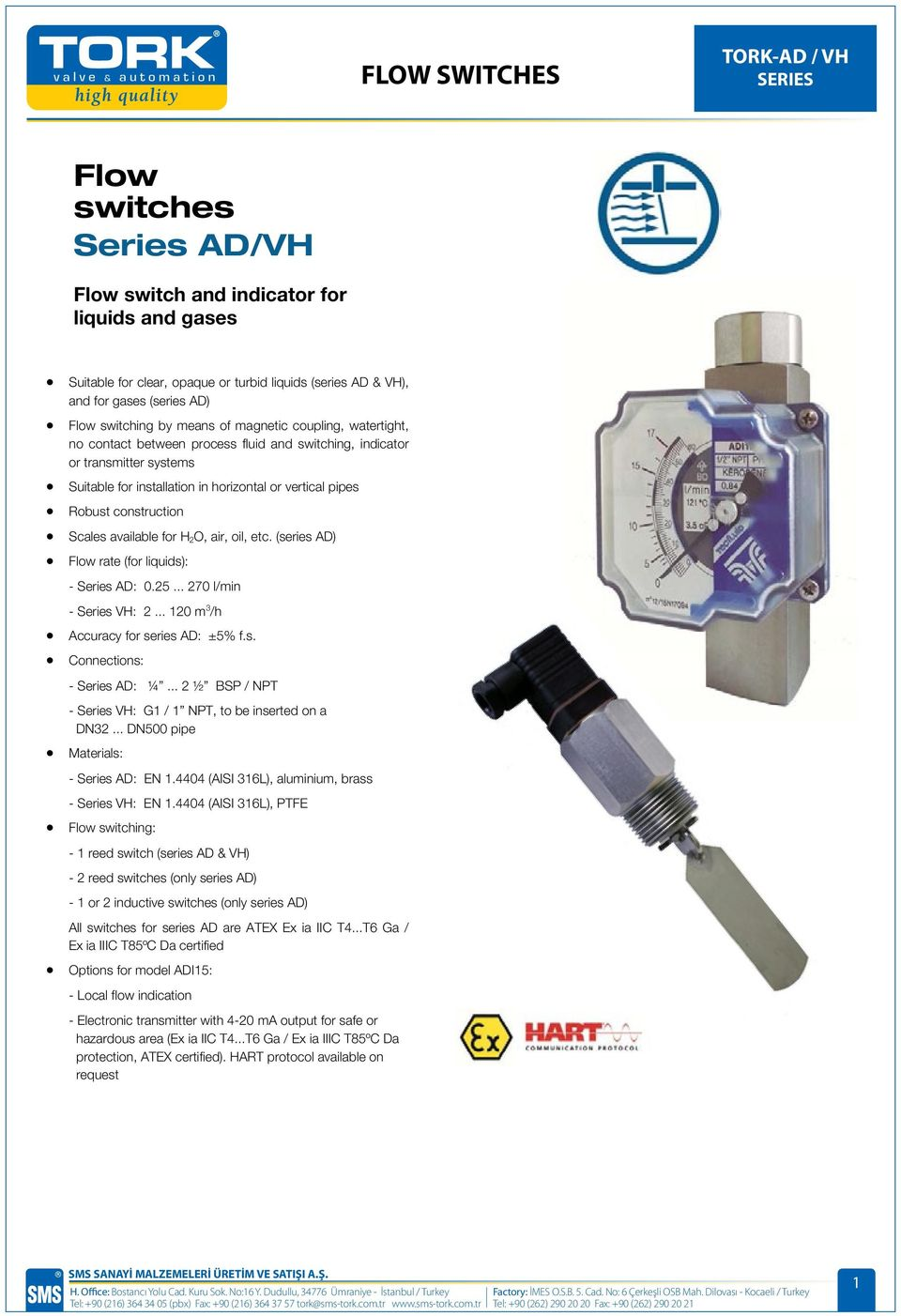 air, oil, etc. (series AD) Flow rate (for liquids): - Series AD: 0.25... 270 l/min - Series VH: 2... 120 m 3 /h Accuracy for series AD: ±5% f.s. Connections: - Series AD: ¼.