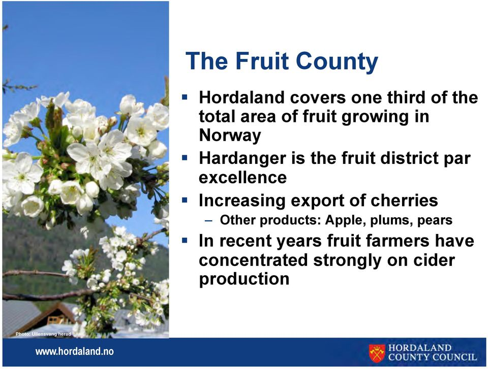 export of cherries Other products: Apple, plums, pears In recent years