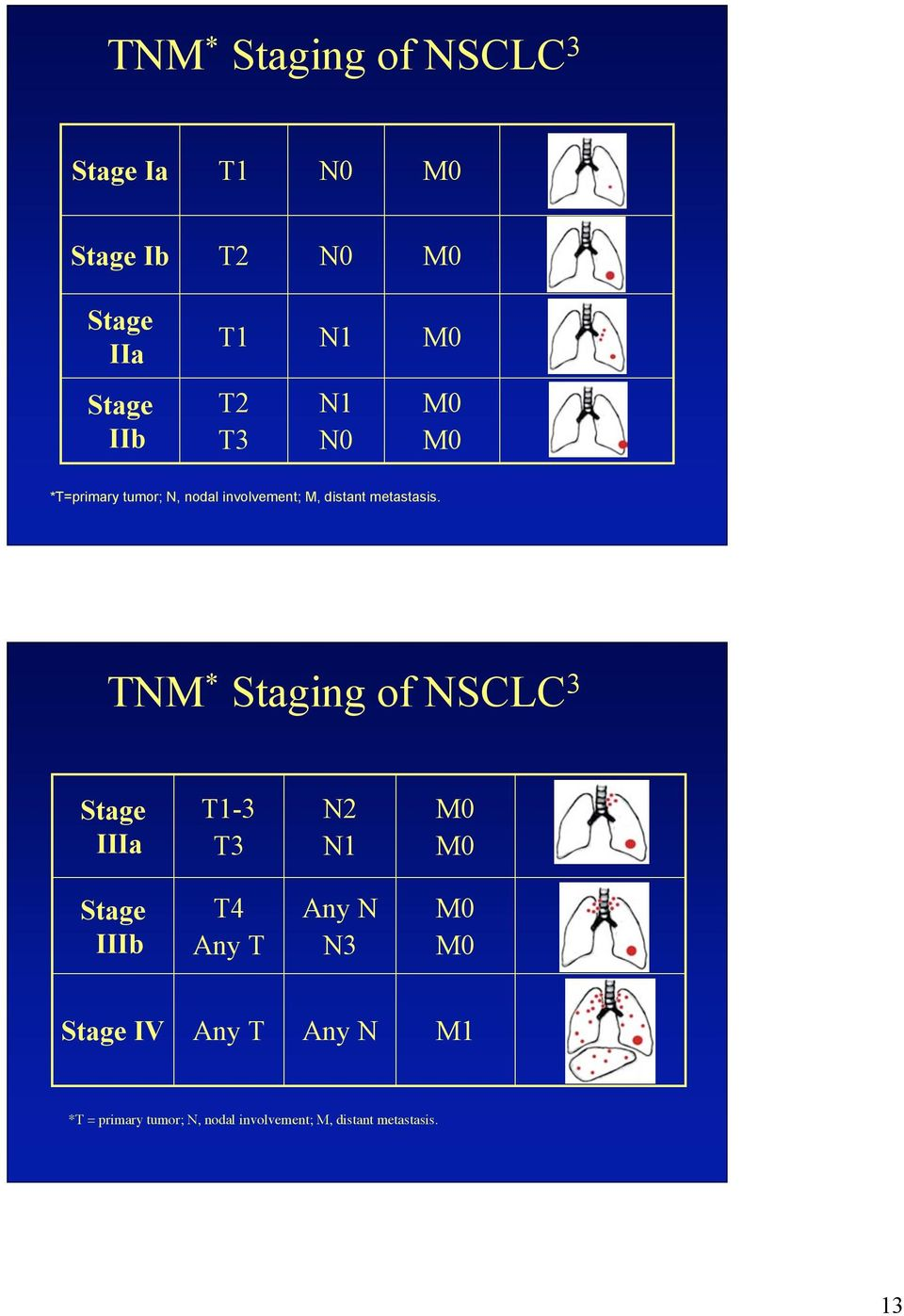TNM * Staging of NSCLC 3 Stage IIIa T1-3 T3 N2 N1 M0 M0 Stage IIIb T4 Any T Any N N3 M0