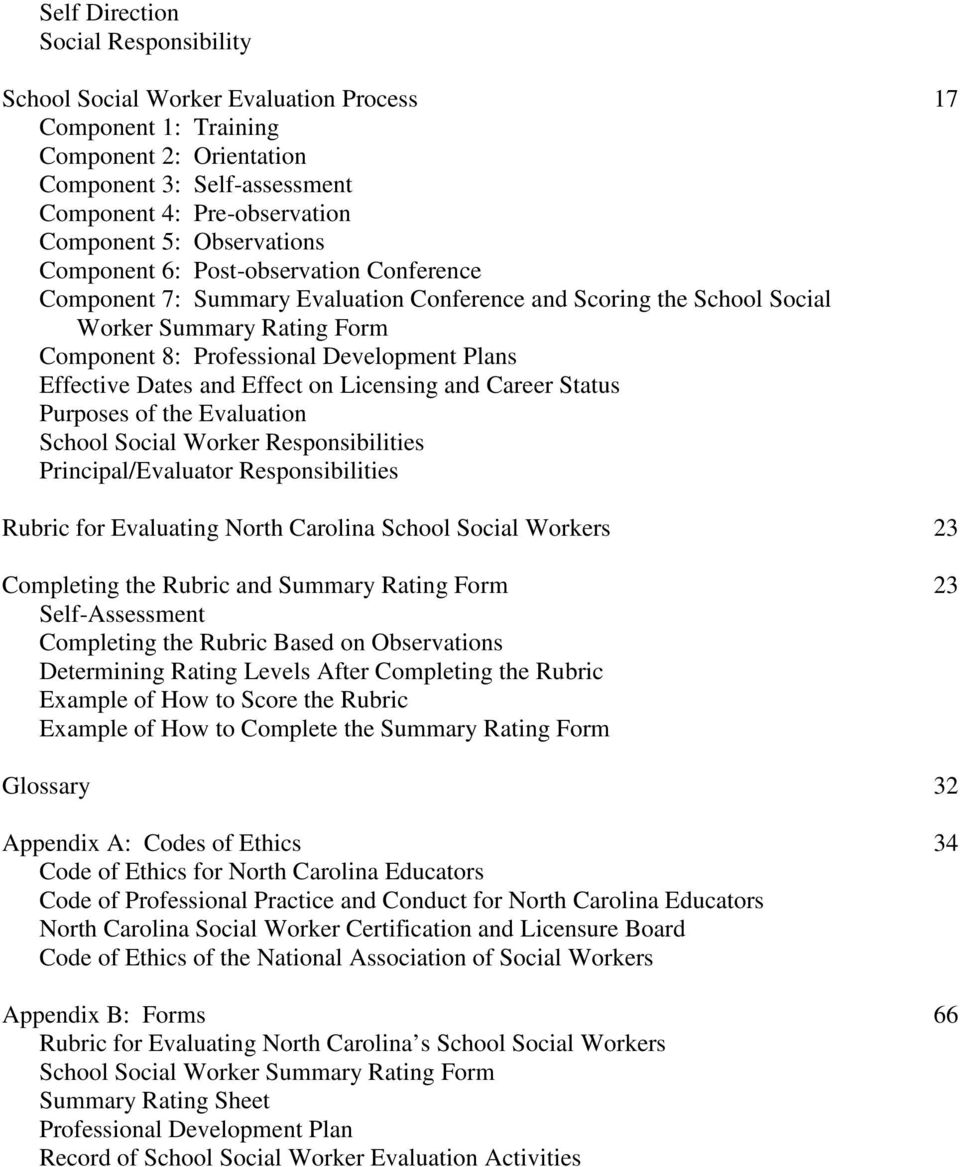 Effective Dates and Effect on Licensing and Career Status Purposes of the Evaluation School Social Worker Responsibilities Principal/Evaluator Responsibilities 17 Rubric for Evaluating North Carolina