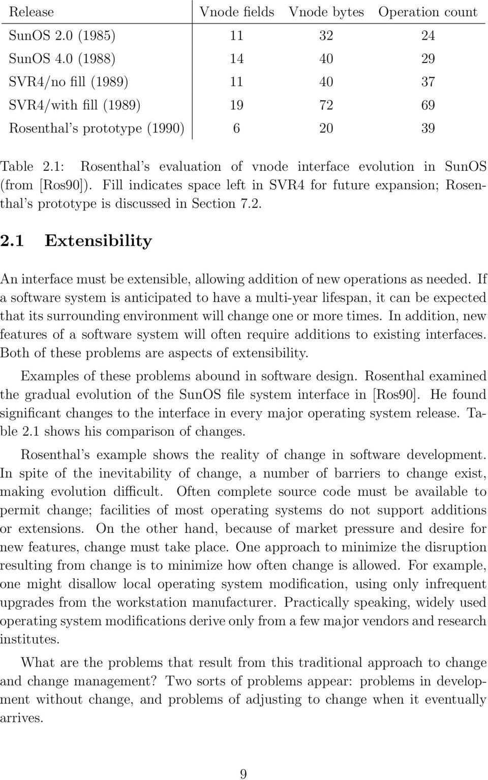 1: Rosenthal s evaluation of vnode interface evolution in SunOS (from [Ros90]). Fill indicates space left in SVR4 for future expansion; Rosenthal s prototype is discussed in Section 7.2. 2.