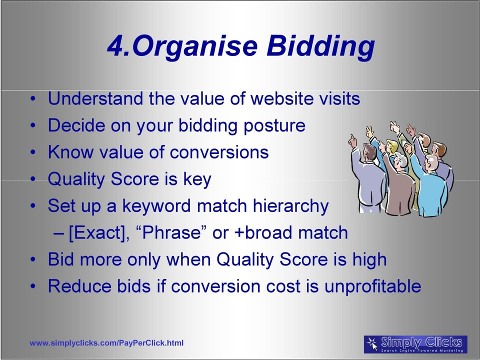 up a keyword match hierarchy [Exact], Phrase or +broad match Bid more