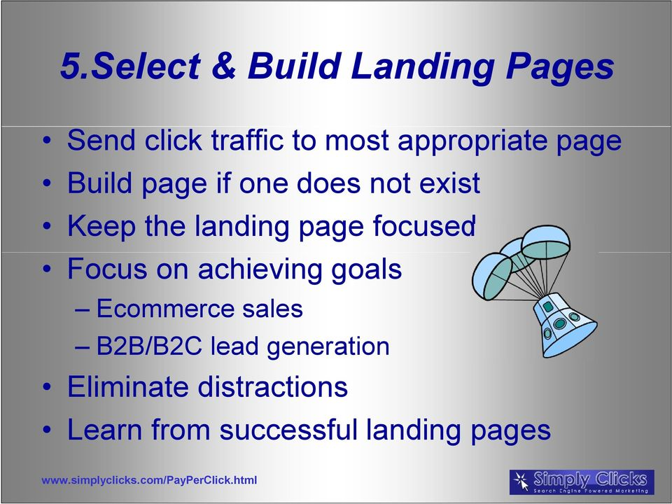 landing page focused Focus on achieving goals Ecommerce sales