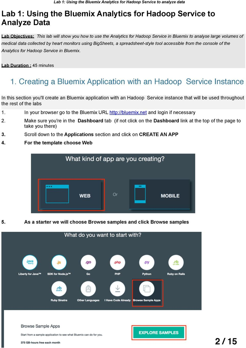 Creating a Bluemix Application with an Hadoop Service Instance In this section you'll create an Bluemix application with an Hadoop Service instance that will be used throughout the rest of the labs 1.