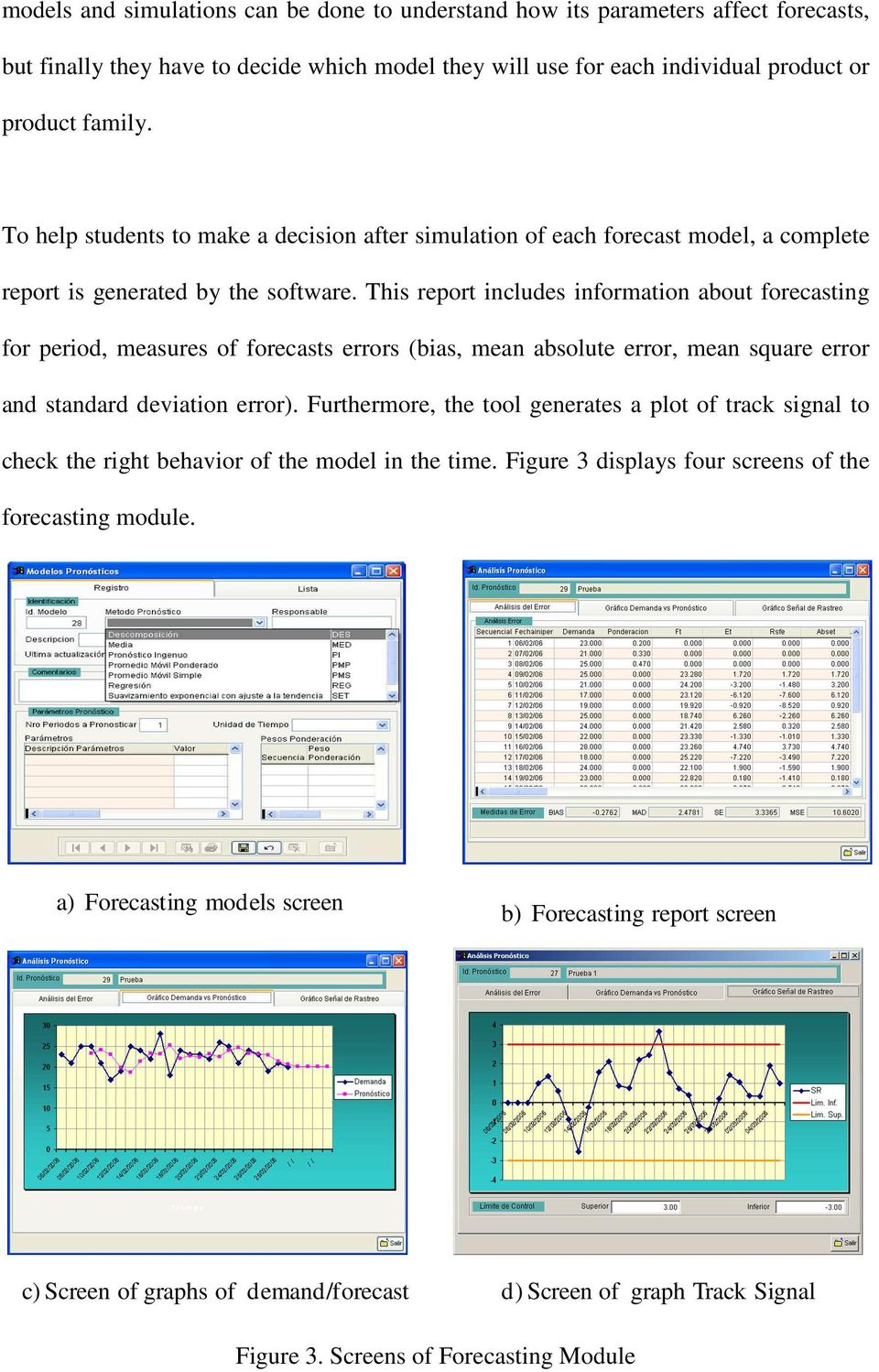 This report includes information about forecasting for period, measures of forecasts errors (bias, mean absolute error, mean square error and standard deviation error).